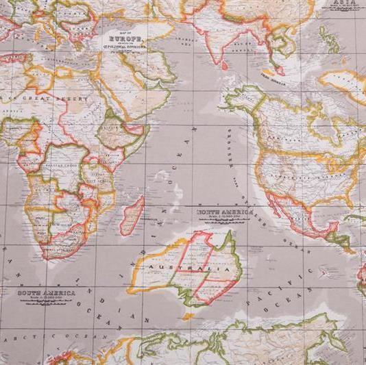 Canvas Wereldkaart stof 75% katoen, 25% polyester, 140/145 cm breed. Geschikt voor gordijnen, kleding, kussens en decoratie.