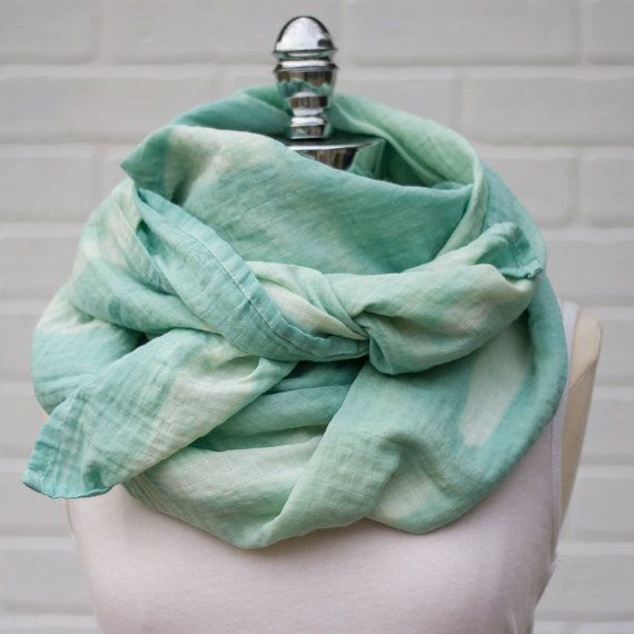 Shibori Cotton Scarf in Sea Glass Hand Dyed by theeddylineco
