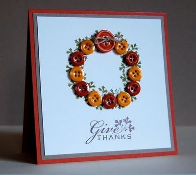 ~ Give Thanks Button Wreath Card ~