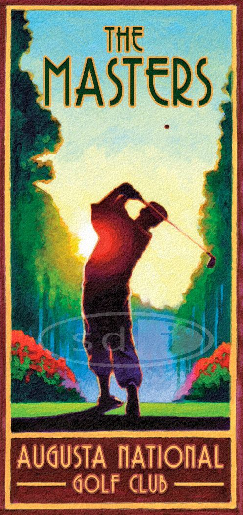 Masters Golf art sports posterprint by ScottDawsonArtPrints #masters great poster for any golf themed #mancave