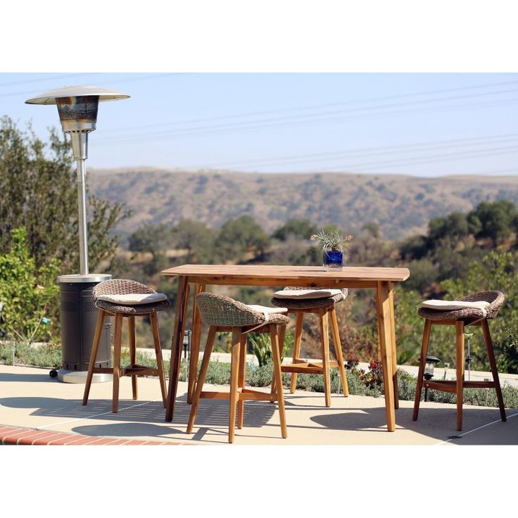 Outdoor Sunnest Sunjoy Trinidad Wood 5 Piece Patio Bar Set 110214007