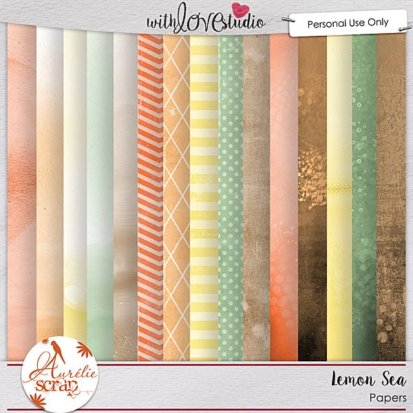 Lemon Sea digital scrapbooking papers from Aurelie Scraps. This pack coordinates with the June 2016 Lovely Colors at With love Studio. You can mix and match this with all the other Lovely Color Packs to create gorgeous digital and hybrid scrapbooking layouts.