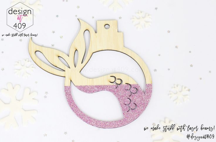 Mermaid Tail Christmas Tree Bauble : Bamboo With Glitter : Design at 409