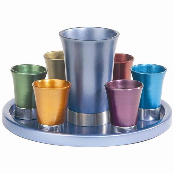 Yair Emanuel Anodized Aluminum 8 Piece Kiddush Set  #Kiddush #JewishEngagementGifts