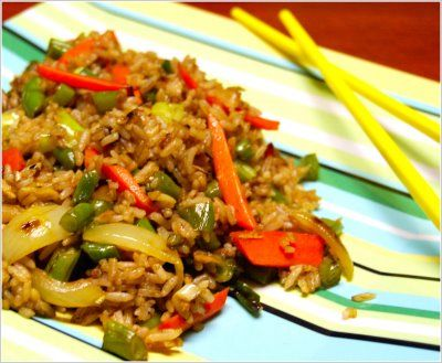 Chinese Fried Rice | Holy Cow! Vegan Recipes|Eggless Recipes|Dairy-free Recipes|Indian Recipes ....using brown rice will mk healthier