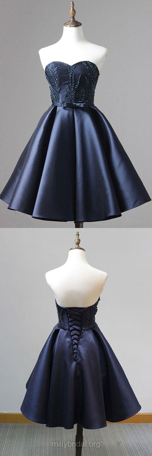 Inexpensive Short Homecoming Dresses,A-line Dark Navy Prom Dresses, Sweetheart Satin Short/Mini Formal Party Gowns,Beading Evening Dress Online