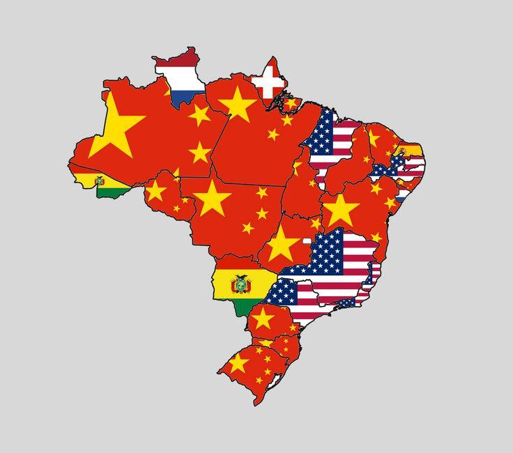 O país que cada estado mais exporta Estados brasileiros representados pelas bandeiras dos países que são seus maiores parceiros comerciais