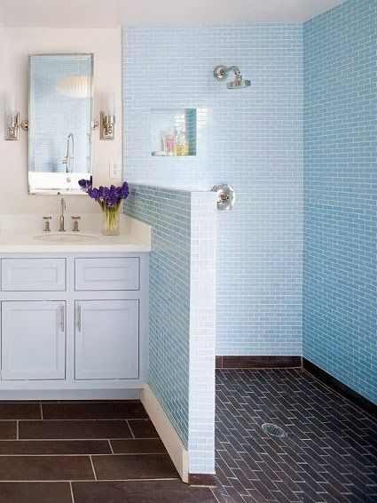 Doorless showers - homes gardens - home, Doorless showers open bathrooms of all sizes to an endless array of stylish possibilities. Description from hometiful.com. I searched for this on bing.com/images
