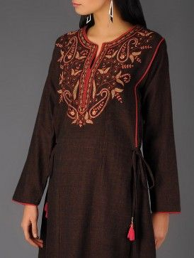 Black Cotton Embroidered Tie-Up Kurta By Jaypore