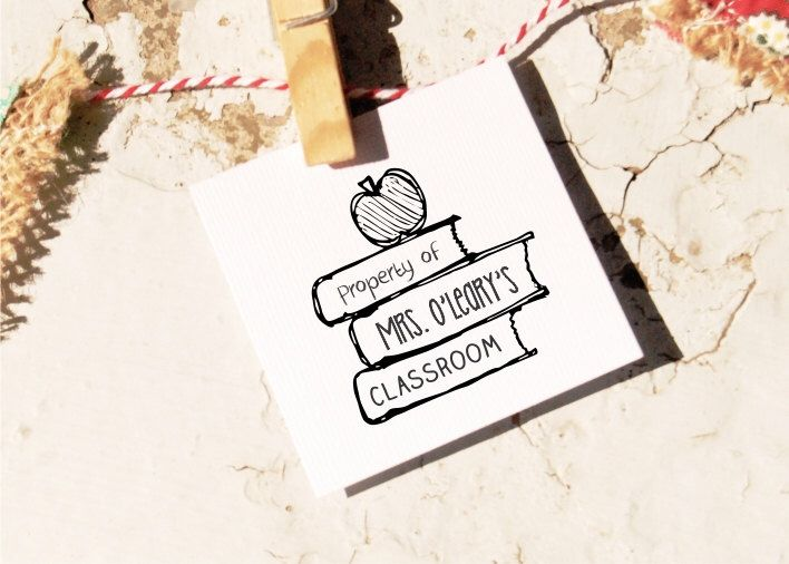 Custom Property Of - School Teacher Name- Custom Book Self-inking or Rubber Stamp  10104 by ThePrintMint on Etsy https://www.etsy.com/listing/195918683/custom-property-of-school-teacher-name