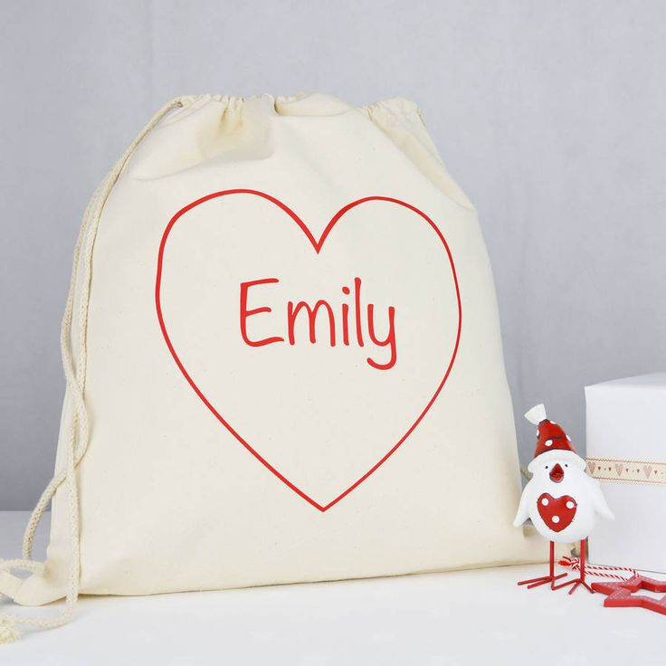 Personalised Heart 'Christmas' Sack