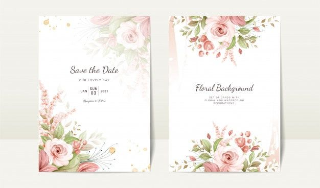 Floral Wedding Invitation Template Set With Brown Watercolor Rose And Leaves Decoration Botanic Card Design Concept Floral Wedding Invitations Elegant Wedding Invitation Card Floral Wedding Invitation Card