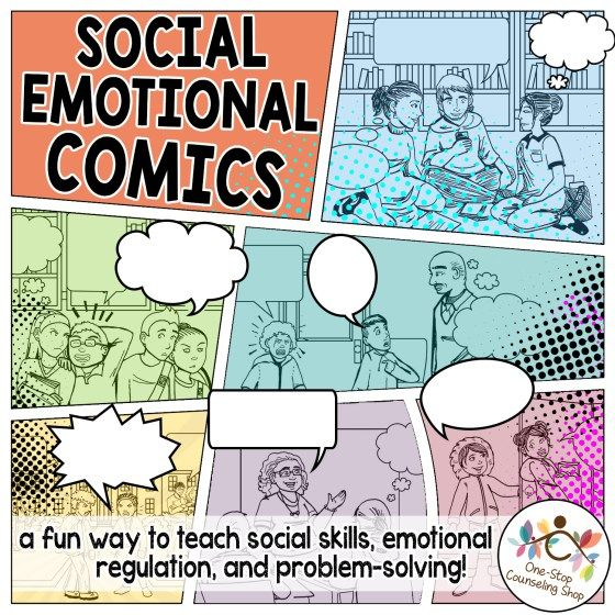 SUPER cute comics to help kids with #Autism, ADHD, or other difficulties learn social skills, problem solving, and anger management skills!