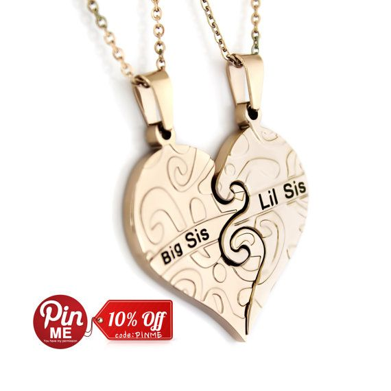 """Heart Necklaces Sister Necklace Big Sis  Lil Sis, Infinity Necklace Set (2pcs), Perfect Sister gift 18"""" Chains Included on Etsy, $25.95"""