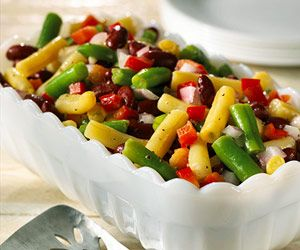 Light Three-Bean Salad This version of three-bean salad gets a light coating of simple dressing, keeping it light and healthy. The recipe can be tossed together in 15 minutes.