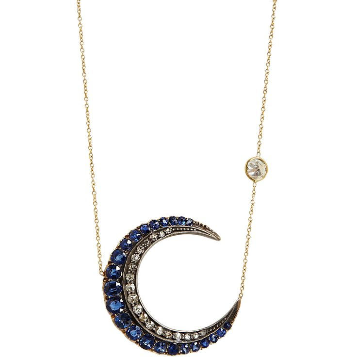 Sapphire, diamond, silver and gold crescent moon and diamond star necklace.