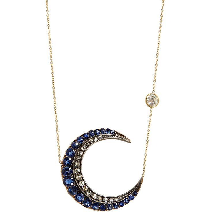 Renee Lewis Antique Diamond & Blue Sapphire Crescent Pendant Necklace at Barneys.com