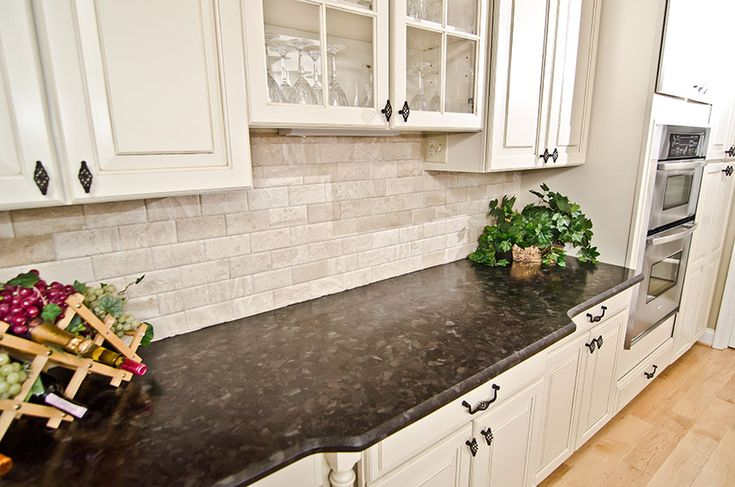 Leathered Antique Brown Granite and River Valley Granite Vienna VA (17) / Travertine subway tiles
