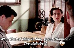 """When her male colleague Agent Thompson (Chad Michael Murray) asks her to file something — because she's """"better at that kind of thing"""" — she has the best response.   63 Gloriously Feminist Moments From """"Agent Carter"""""""