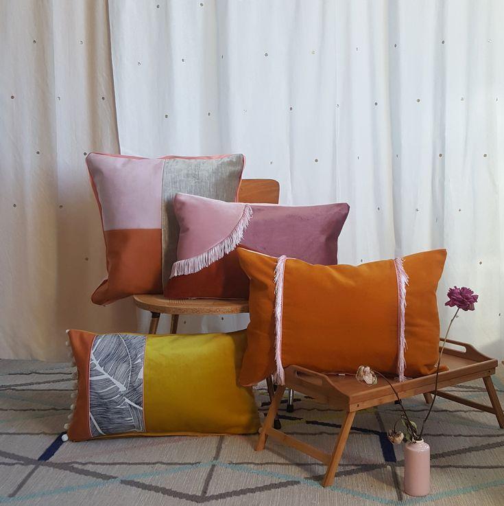 Collection 2018 décoration textile gioia june coussin velours orange terracotta rose burlesque esprit bohème chic