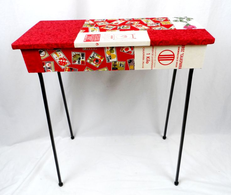 Imagine this slender little table accenting a hallway or entrance! My new fabric surface treatment in reds.