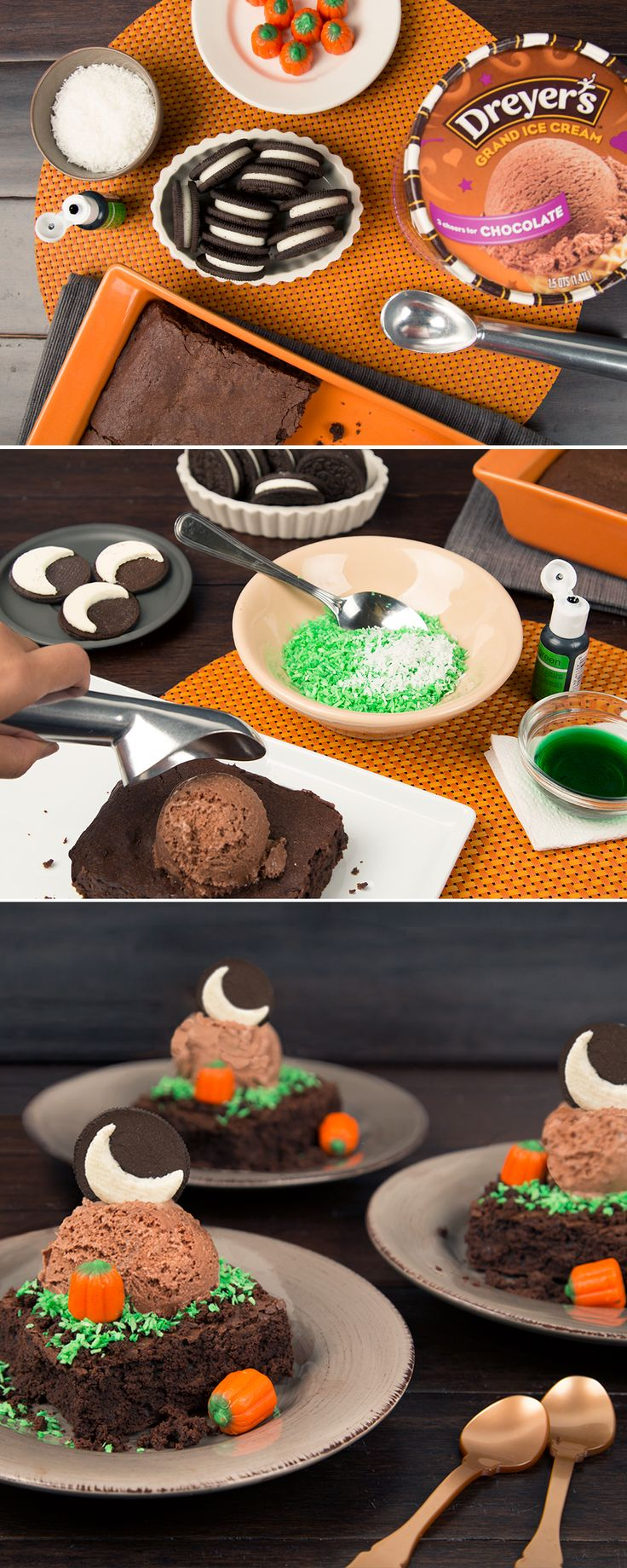 It's not spooky, it's scrumptious — and it's an easy, no-bake frozen treat  ~ love the oreo with one chocolate cookie off and a spoon scrape moon