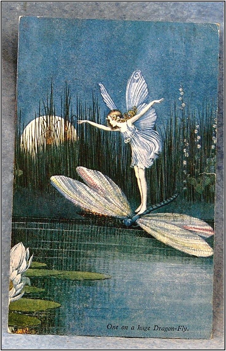 """Apr 3, 1937. The left side is marked """"Elves And Fairies, Series No. 74 // From """"Blossom"""" A Fairy Story by Ida Rentoul Outhwaite"""
