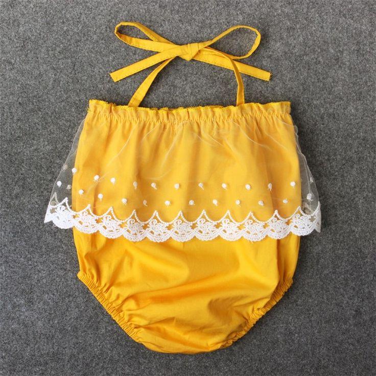 Летом дизайн одежды ярко-желтый кружева девочки ползунки