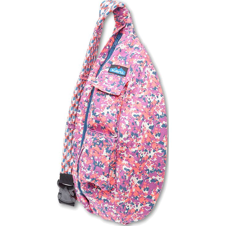 The KAVU Rope Bag is a comfortable messenger-style sling bag made from durable cotton canvas and featuring a distinctive, adjustable rope strap.