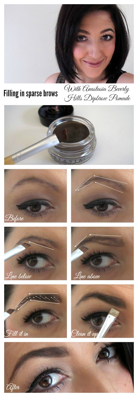How to fill in sparse brows with Anastasia Beverly Hills Dipbrow Pomade