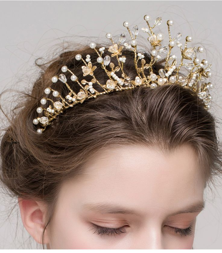 Luxury crystal rhinestone crown tiara banquet wedding hair accessories bridal hair Jewelry gold hairband women's headdress
