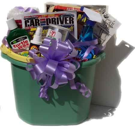 Car Wash gift basket - good selection of items- like the bucket idea
