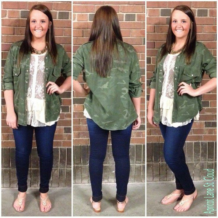 Goooood Morning St. Cloud ‪#‎GM3091‬ Calling all of our camo lovin' Apricuties. This open button up camo shirt is worn over a feminine and delicate lace tank top with a NikiBiki tank underneath that. The delicateness of the lace balance out the roughness of the camo. It's paired nicely with a pair of dark was skinnies. For a touch of bling we added a pair of our gold metallic beaded sandals and a fun statement necklace. Have questions? Ask away! To add this fun outfit to your closet, fill…
