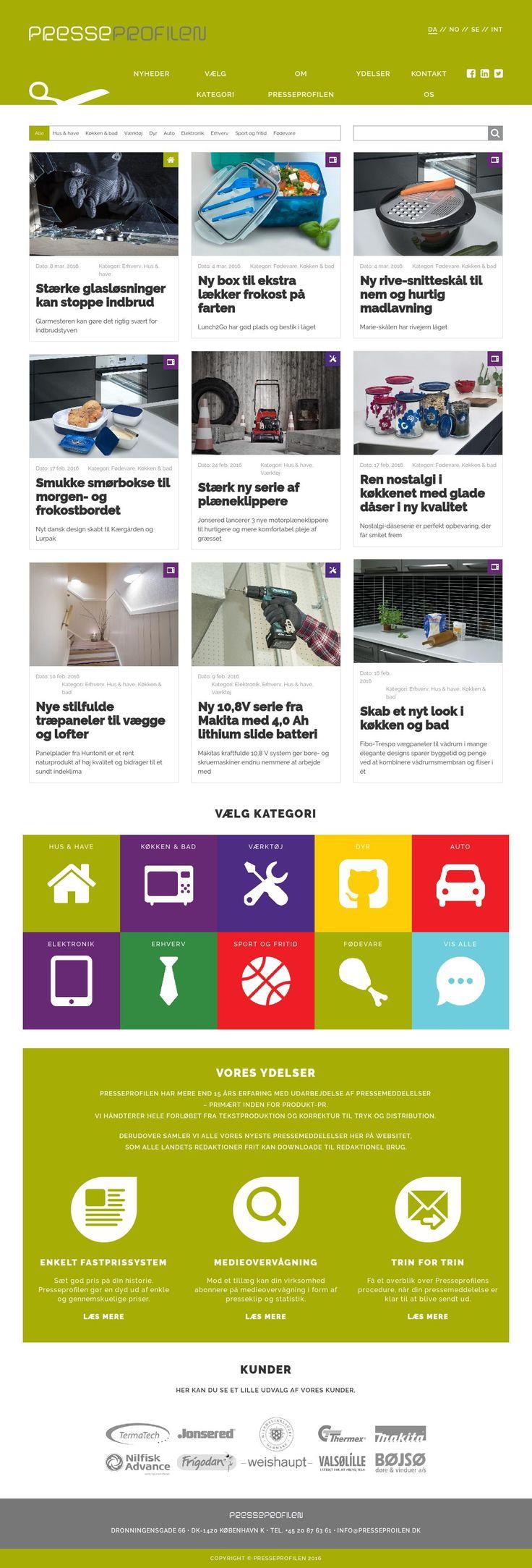 Presseprofilen - Dynamisk nyhedsportal med forskellige nyhedskategorier på flere sprog.