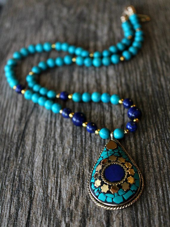 Lapis and Turquoise Statement Necklace, Nepalese Lapis Lazuli Necklace, Blue Gold Jewelry, Tribal jewelry, Tibetan  Jewelry
