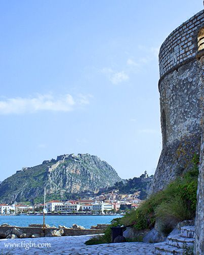 View of #Palamidi Fortress from #Bourtzi Fortress across the port of #Nafplio - #Greece