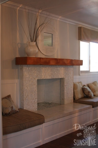 Fireplace Remodel - add built-ins for seating~ I love the added seating, but storage or shelving is necessary. Can lay shelves on their sides and use baskets for storage. Then, create a nice look with molding and chair railing above to meet the mantle...?