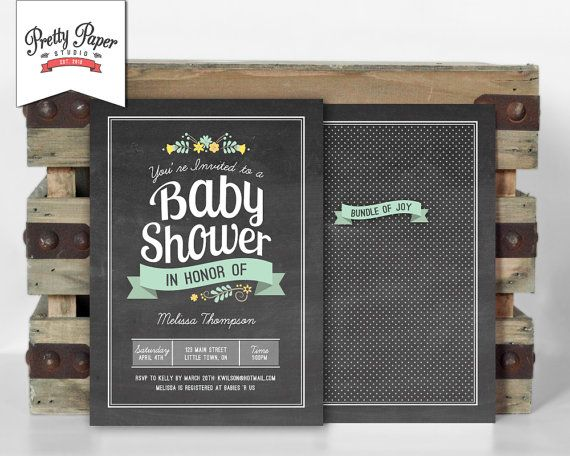 Baby Shower Invitation // Floral Chalkboard Invite // Gender Neutral // Yellow and Mint Green // Vintage Flowers // Printable, Digital, DIY by ThePrettyPaperStudio on Etsy, $17.00