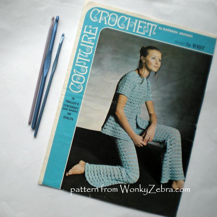 "a beautiful, vintage crochet, ""Barbara Warner couture crochet"" pattern from WonkyZebra,com. pattern PDF WZ102"