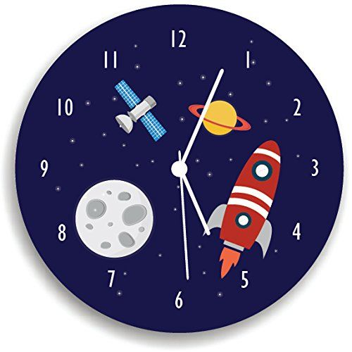 "Space Wall Clock, space ship Boys Wall Clock, boys bedroom wall clock. Nursery Wall Clock, Giving a new atmosphere to any nursery! Measurements approximately 10.62"" Diameter and 0.14"" high The printed is adhered to the wood, This quality print come with brilliant laminated. The edges are painted dark color in order to make the perfect ending to the wall clock. Our kid-friendly wall clocks are for indoor use only. All wall clocks can be clean with a soft dry cloth. The clock requires one…"