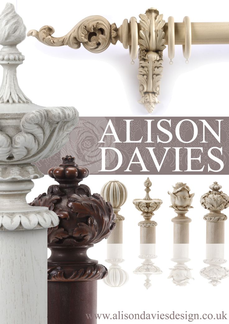 exquisite hand crafted curtain poles, finials and tiebacks - also offered in Farrow and Ball paint shades  www.alisondaviesdesign.co.uk