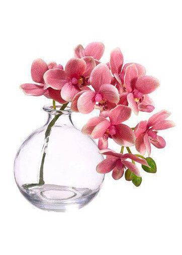Get pre-made silk flower arrangements for your home decor like this beautiful mini pink phalaenopsis orchid arrangement in a round clear glass vase. Place in any room to brighten your table top decor! #beautifulflowersarrangements