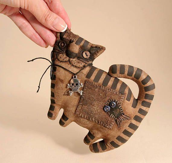 Примитивный Кот любитель подарок народного искусства тряпичная кукла примитивный декор Хэллоуин кошка коллекционная примитивный ручной работы животных Хеллоуин кошка
