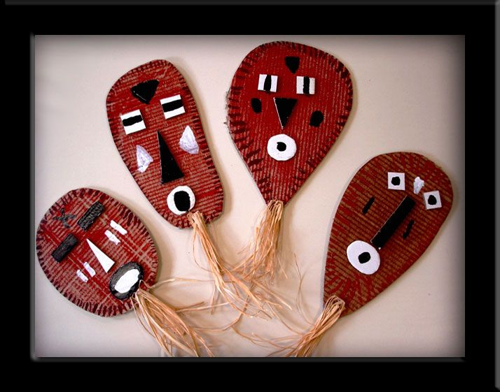 "African masks--tokens to give out as ""alter"" gifts for a Masks of the World study. Do display of masks, other students can take a mask token and leave a personal ""gift"" in its place. Fun for all!"