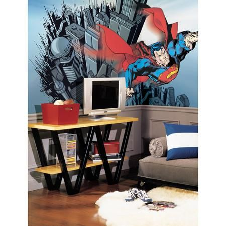 Buy your superman chair rail xl wall mural here create a vibrant scene in your childs room with prepasted wall murals your child will love transforming