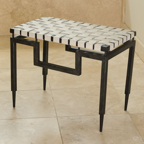 Global Views Wrought Iron Bench with Black Powder Coated Finish