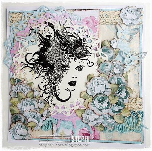 Card with clear stamps Floral Lady.