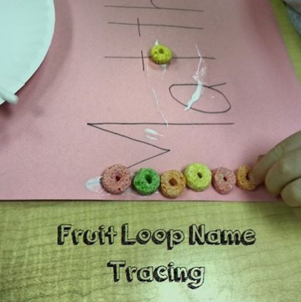 Cereal Name Tracing. Trace Name With Q-tips And Glue And