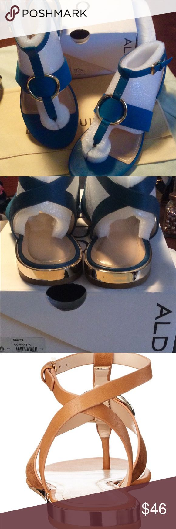 NEW Aldo Leather Sandals These NEW Aldo Compas Flat Sandals in a beautiful Aqua color leather with gold buckle detailing. Original box Size 7.5 $46 other colors are not available.  🎀 Please ask all your questions before you purchase. I'm happy 😊 to help 🎀 Sorry, no trades or hold. 🎀 Please use the Offer Button. 🎀 Bundle for your best prices. 🎀 Ships same day, if possible.  🎀 Free gift with every purchase. 🎀 Thank you for visiting my closet.🎀 Aldo Shoes Sandals
