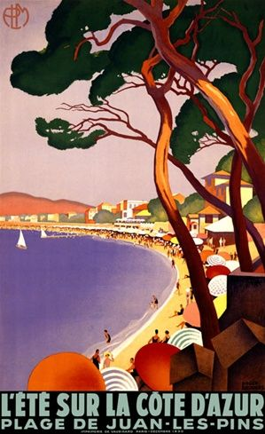 La Cote d Azur Broders Vintage Poster Reproduction. This French travel poster features a coastal beach lined with umbrellas and homes seen through the trees with a few sailboats on the water. Giclee Advertising Print. Classic Posters